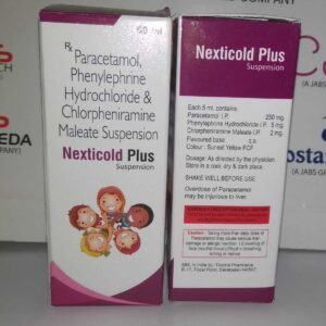 nexticold plus syrup - PARACETAMOL,PHENYLEPHRINE HYDROCHLORIDE & CHLORPHENIRAMINE MALEATE SUSPENSION